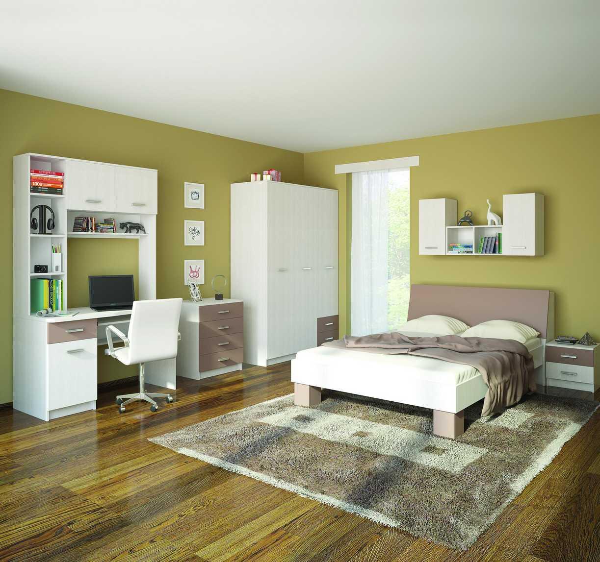 Лаконичная спальня с рабочей зоной